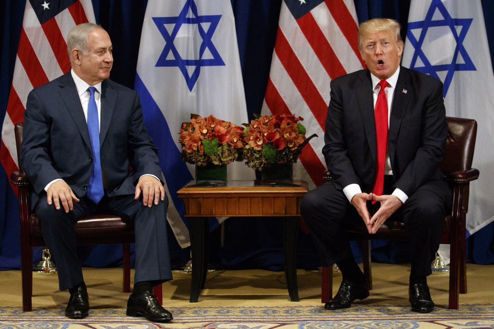 President Trump speaks during a meeting with Israeli Prime Minister Benjamin Netanyahu at the Palace Hotel during the United Nations General Assembly on Monday in New York.