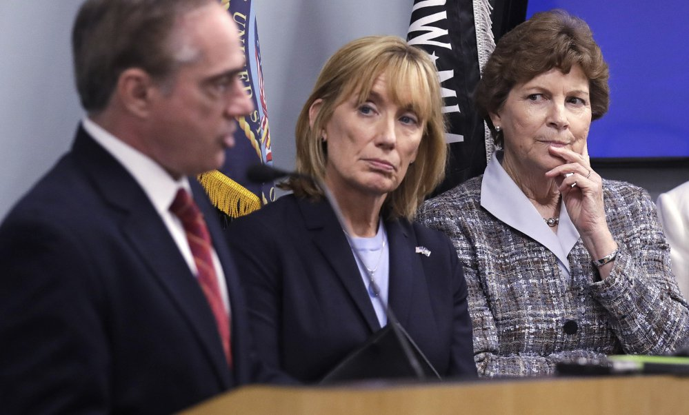 U.S. Sen. Jeanne Shaheen, D-N.H., right, and U.S. Sen. Maggie Hassan, D-N.H., center, listen to Secretary of Veterans Affairs David J. Shulkin during a visit to the Veterans Administration Medical Center in, Manchester, N.H., in August. Some doctors at the center have alleged substandard care at New Hampshire's only hospital for veterans.