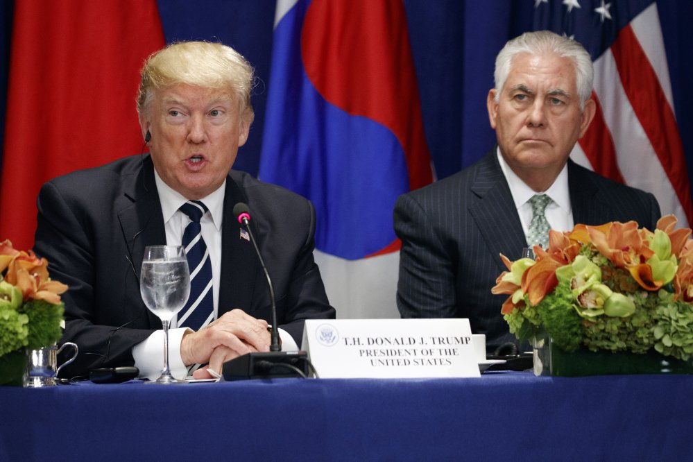 Secretary of State Rex Tillerson sits at right as President Trump speaks at a luncheon with South Korean President Moon Jae-in and Japanese Prime Minister Shinzo Abe, at the Palace Hotel during the United Nations General Assembly on Thursday in New York.