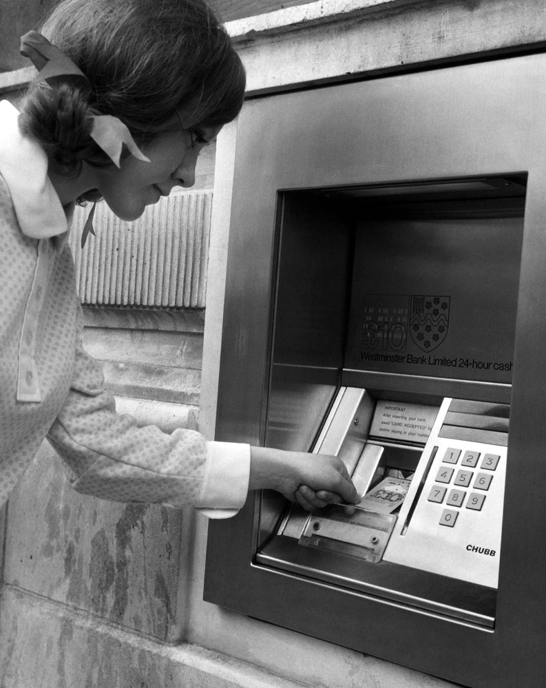 In 1968, bank customers in London had to insert computer punch cards into the slot of an ATM to get cash.