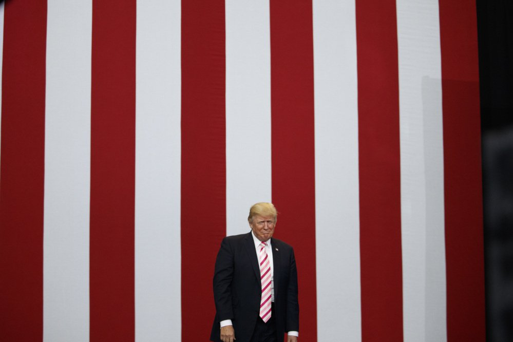 President Trump arrives for a campaign rally for U.S. Senate candidate Luther Strange in Huntsville, Ala.