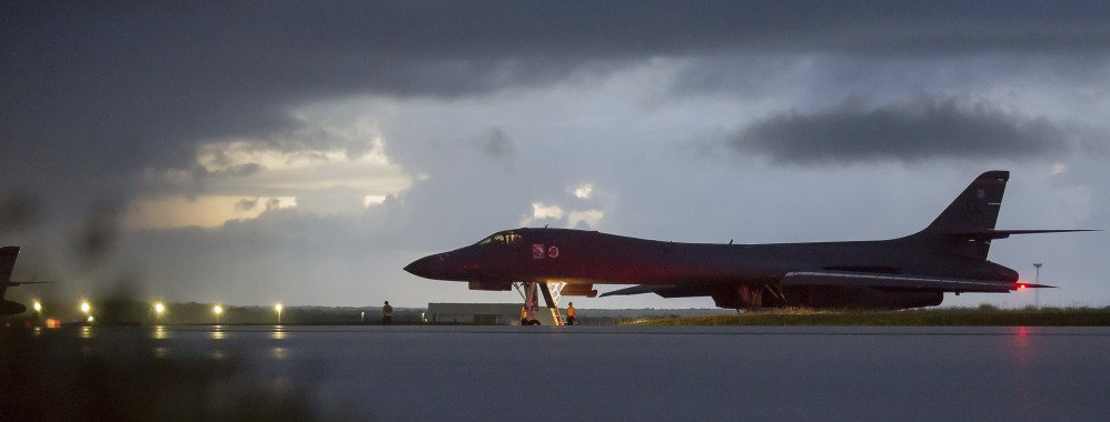 A B-1B Lancer, assigned to the 37th Expeditionary Bomb Squadron, prepares to take off from Andersen AFB, Guam, on Saturday. Staff Sgt. Joshua Smoot/