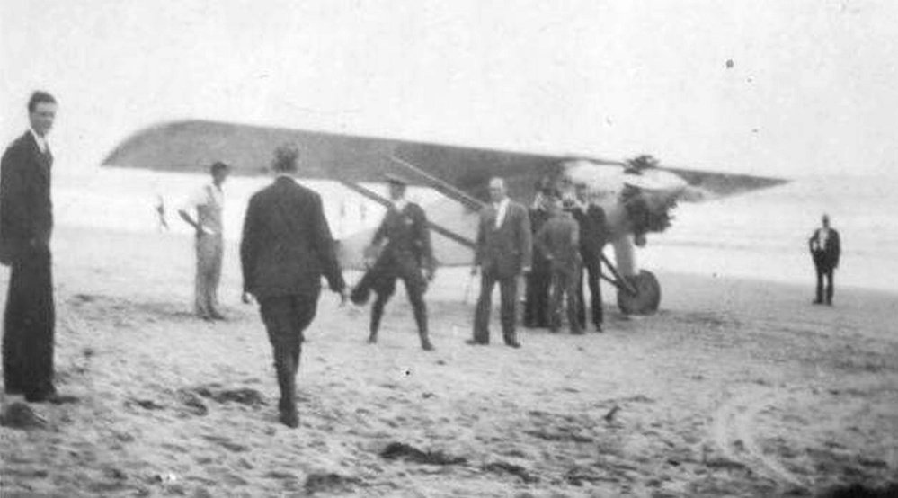 After his historic trans-Atlantic flight, Charles Lindbergh was headed for the Portland airport on July 24, 1927, as part of his victory tour when fog forced him to find another landing spot. He was aware of a hangar in Old Orchard Beach and landed on the sand nearby.