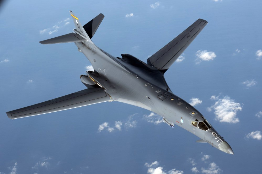 A U.S. Air Force B1-B Lancer pulls away from a KC-135 Stratotanker after refueling during a mission from Andersen Air Force Base, Guam, into Japanese air space in August.