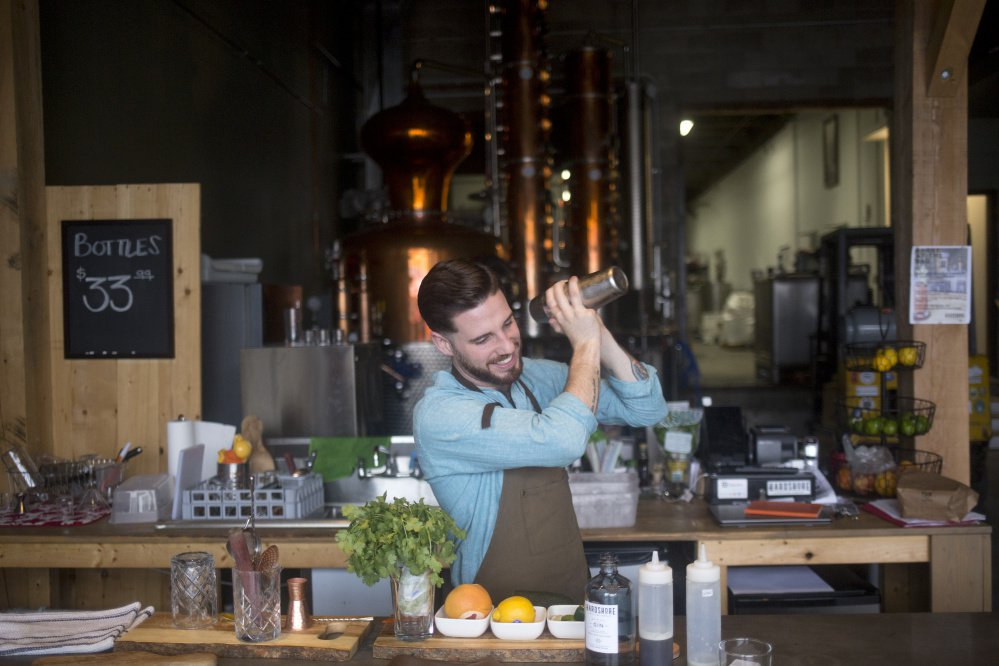 Travis Gauvin, assistant distiller at Hardshore Distilling, makes the Tweed Jacket with butternut squash, peaches and honey, ingredients he hopes will bring to mind a stroll through a farmers market.