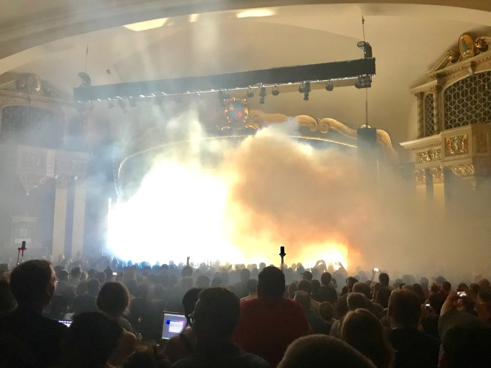 Theatrical smoke or fog used by the Pixies set off smoke alarms at The State Theatre on Tuesday.