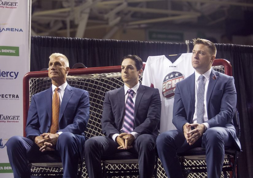 Adam Goldberg, right, vice president of business operations for Portland's new ECHL franchise, says,