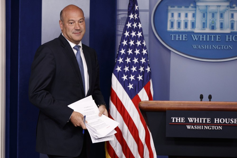 White House chief economic adviser Gary Cohn arrives to speak during the daily press briefing Sept. 28 in Washington.