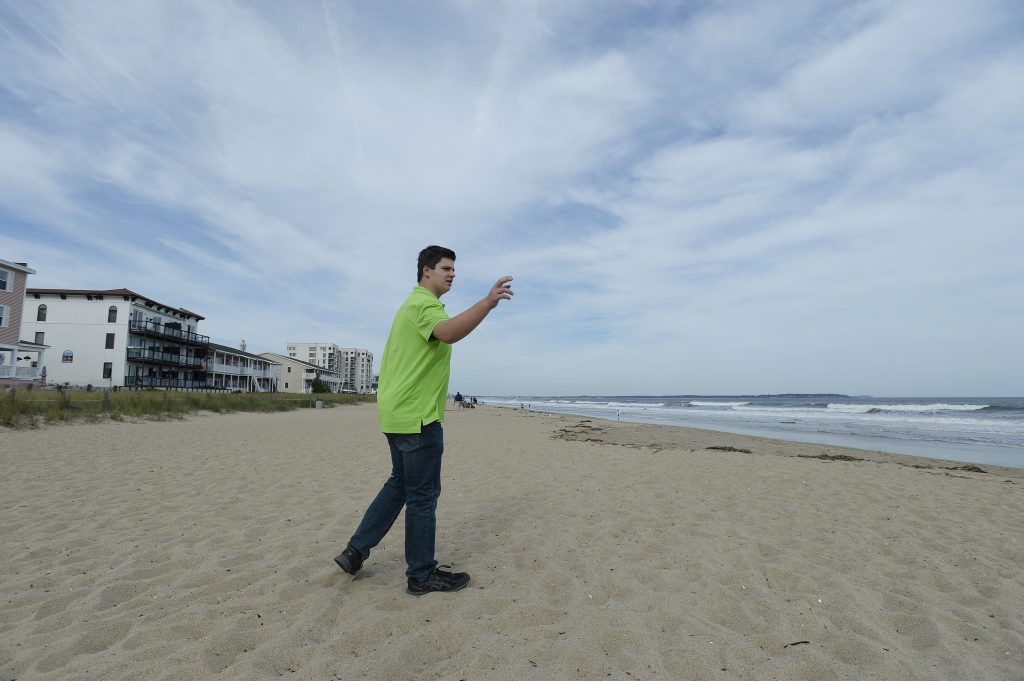 Chase Walker 15, of Old Orchard Beach describes to a writer his vision of a special event he organized to commemorate the 90th anniversary of the day Charles Lindbergh landed on Old Orchard Beach.