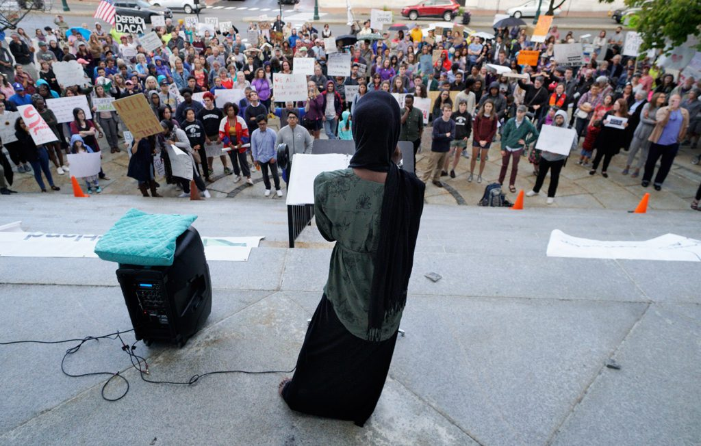Portland activist Hamdia Ahmed speaks at a Sept. 8 rally at Portland City Hall in support of the Deferred Action for Childhood Arrivals program.