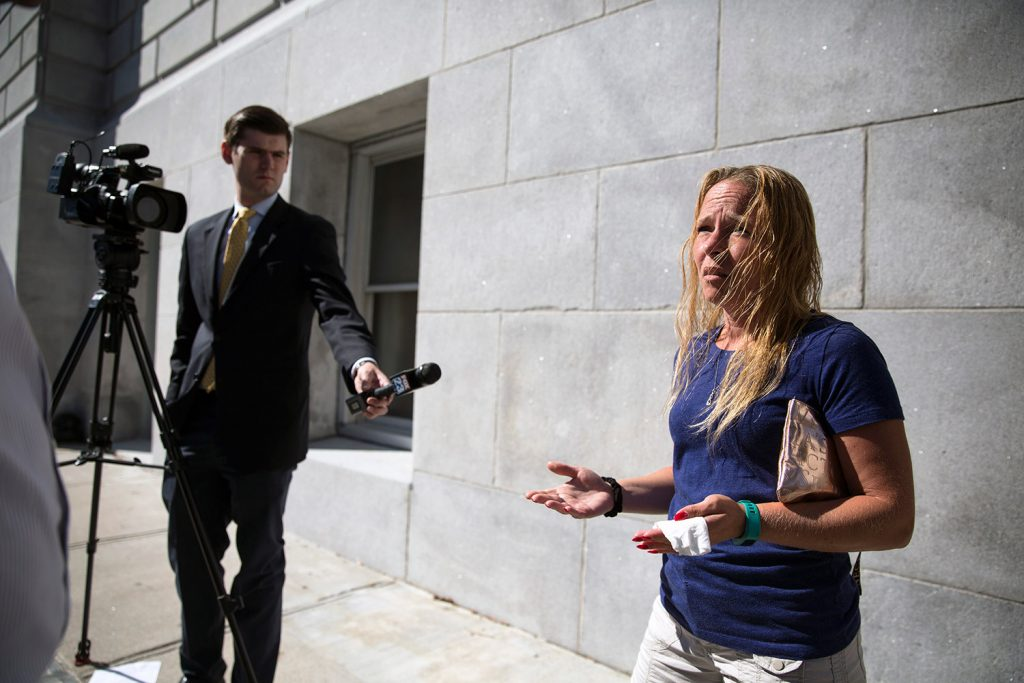 Jennifer Libby, niece of Sharon Crawford, speaks to reporters Friday at the Cumberland County Courthouse after Natasha Field, 32, was granted $2,500 bail. Field is charged with aggravated leaving the scene of a motor vehicle accident after allegedly hitting and killing Crawford. Libby said Field's bail was set too low.