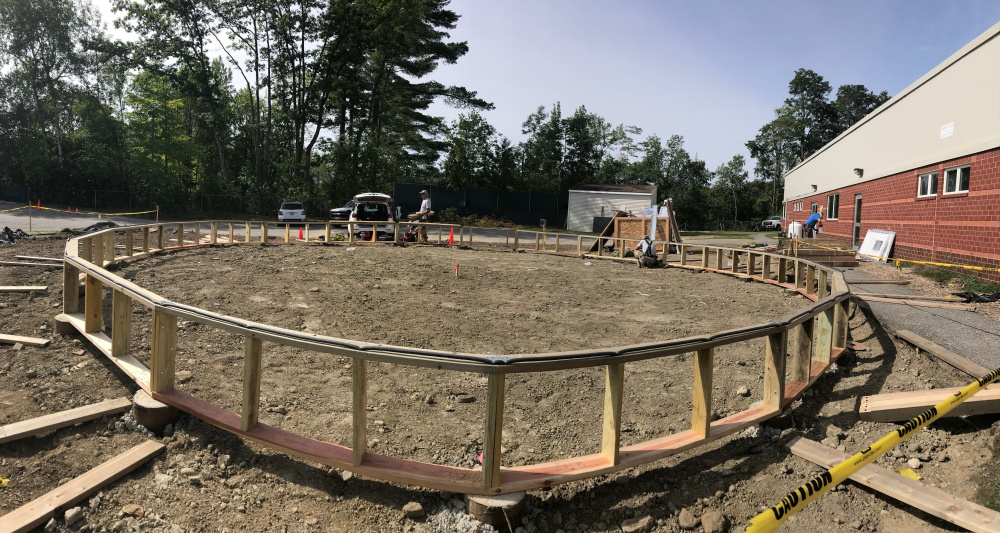 a 42-foot diameter Growing Spaces Biodome is being built at the Alfond Youth Center in Waterville.