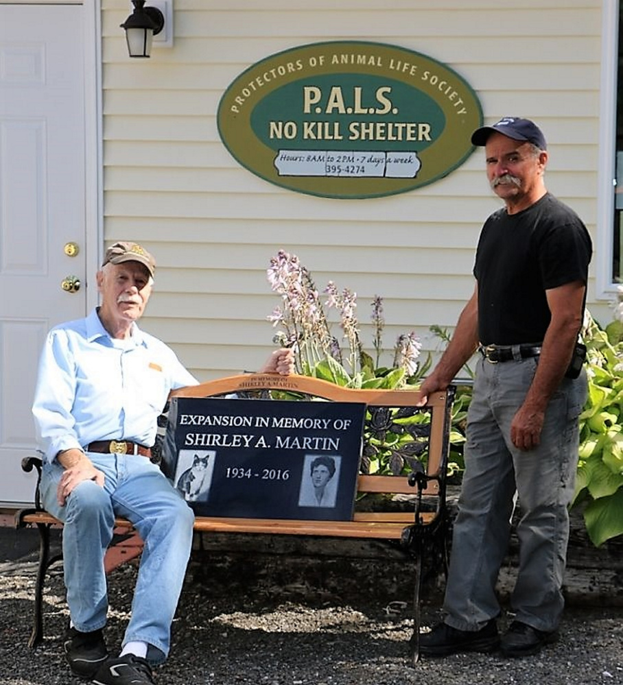 Dr. Robert Martin, of New Sharon, is funding an addition at PALS No-Kill Cat Shelter in memory of his wife of 65 years, Shirley and their two 17-year-old cats Sweetie and Pookie. Construction is scheduled to begin Sept. 11.