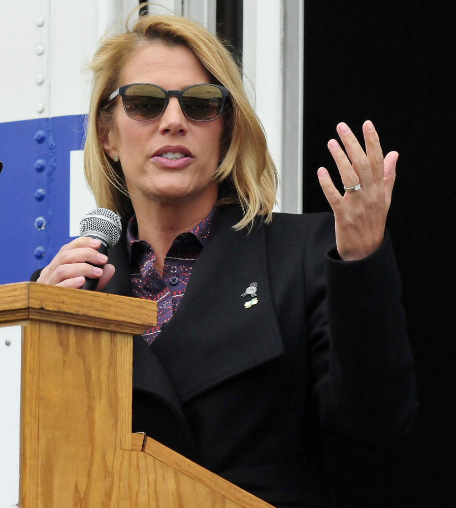Sarah Nelson, president of the International Association of Flight Attendants, was a speaker during a Labor Day rally in Waterville on Sunday.