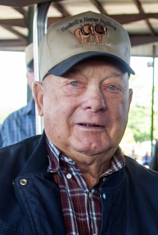 Steve Haskell was given a lifetime achievement award in horse pulling Monday before the final day of the competition at the Windsor Fairgrounds.