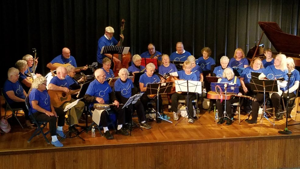 The Carol Bailey String Band, directed by Pat and Jon Bailey, will perform at 2 p.m. Friday, Sept. 8, at the Litchfield Fair. In front, from left, are Harold and Mary Blen, Dot Vachon, Pam Turner, Mary Fitzmaurice and Pat Bailey.  Middle row, from left are Liz Waterman, Pat Hiltz, Patty Harvey, Eileen Turcotte, Pauline Smith, Gretchen Damberg, Priscille Hatch, Elaine Clary, Sharon Hodgdon, Ann Turnbull. In back, from left are Pat Soboleski, Joyce Drew, Jon Bailey, Mike Kane, Roland Morin, Dick Cutliffe, Russ Thayer, Linda Washburn, Donna McEwan, Susan Fahlsing and Muriel Minkowsky.