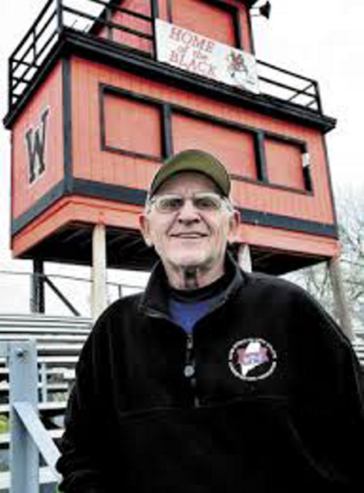 "Harold ""Tank"" Violette stands on Poulin Memorial Field before he was inducted into the Maine Sports Hall of Fame in 2011."