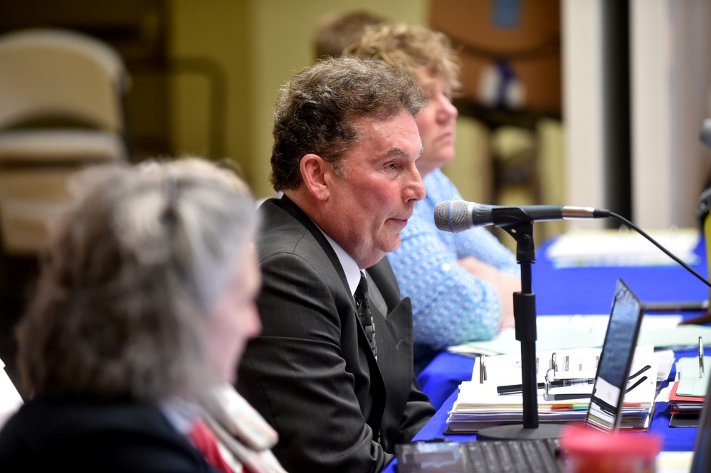 Dr. Tom Ward, superintendent of RSU 9, answers questions regarding the school budget during an RSU 9 budget meeting at Mt. Blue High School in Farmington on April 27.