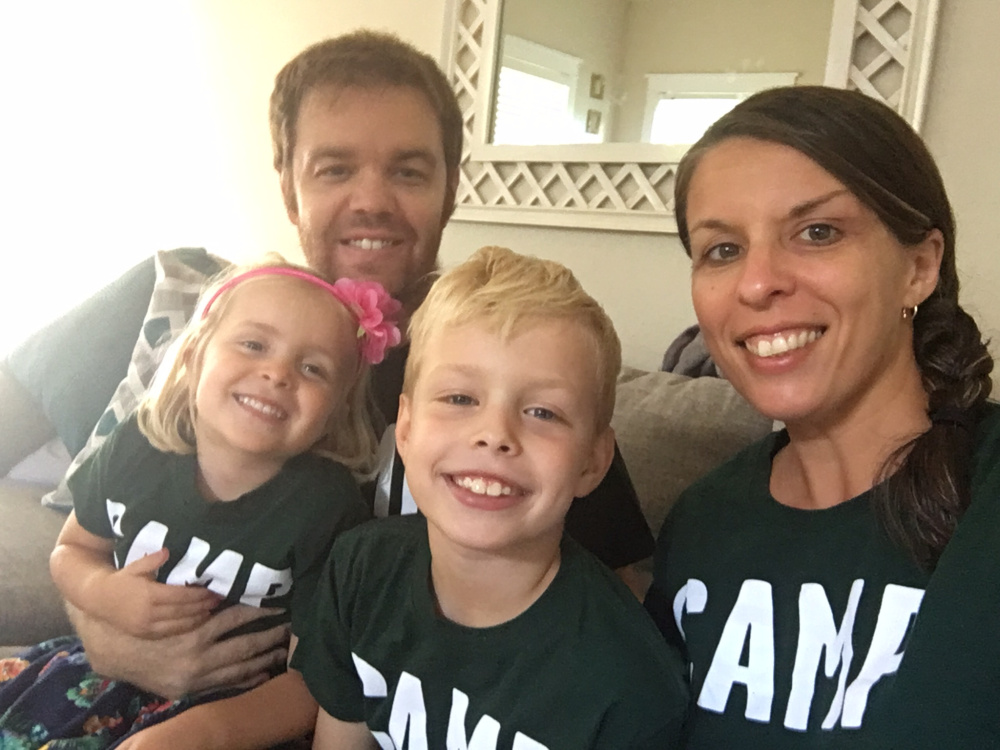 The LaMarre family evacuated their home in Tampa once they heard the order on Saturday. David LaMarre, right, graduated from Waterville High School in 2000. He left with his wife, Kristi LaMarre, left; daughter Harper, 4; and son Jackson, 8.