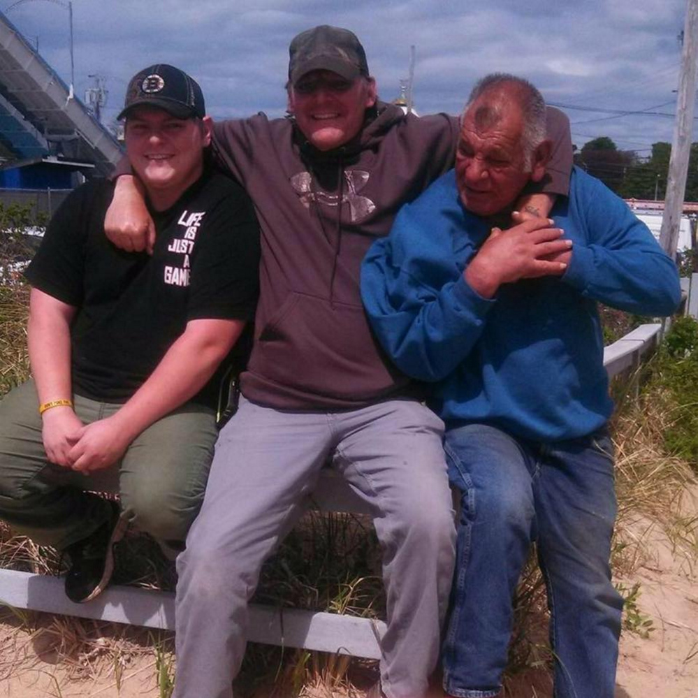 Aaron White-Sevigny, far left, with his father, Roy Sevigny, and grandfather, Carl Sevigny. White-Sevigny, 25, of Windsor was one of two men who died Sunday while participating in a charitable motorcycle ride, following a large crash on Interstate 95 that involved a truck.