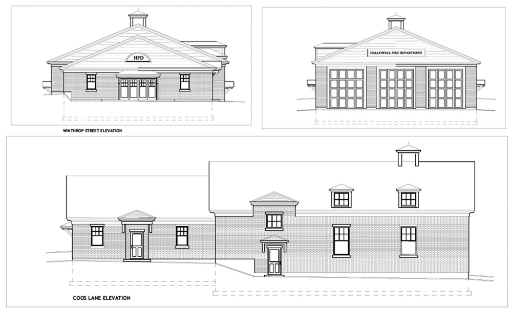 Architectural drawings show the concept behind the Hallowell fire station to be built at Stevens Commons.