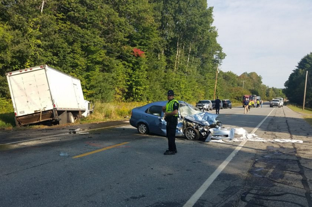 A box truck, swerving Tuesday morning to avoid a pedestrian on Waterville Road in Skowhegan, hit the man and then a sedan traveling in the opposite direction.
