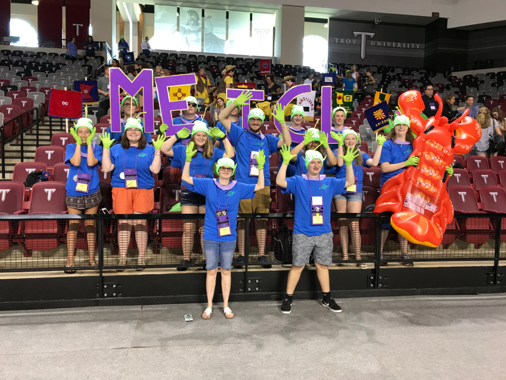"The Maine delegation is ready for the spirit contest. Theme of the day ""Troy Story."""