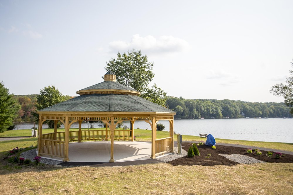 The new town gazebo at the boat landing at Messalonskee Lake in Oakland was scheduled for dedication Saturday evening.