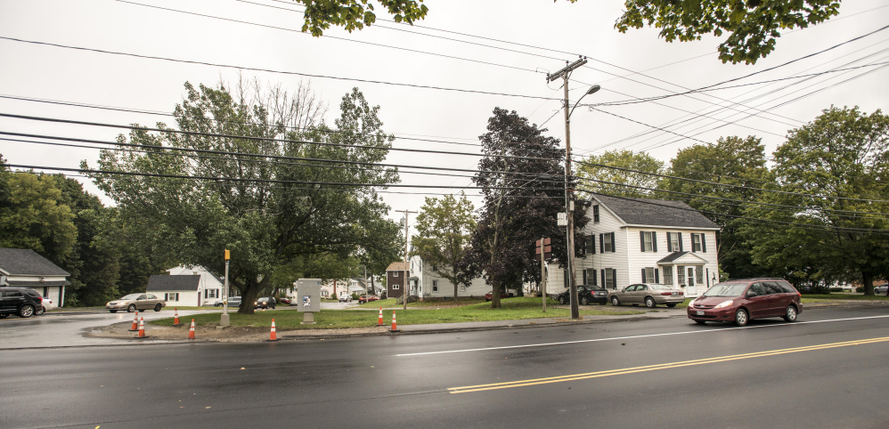 The Waterville City Council voted Tuesday night to rezone 299 Main St., right, and 70 Oak St., center, which are proposed to be the new location of KV Federal Credit Union. The credit union is now on Quarry Road.