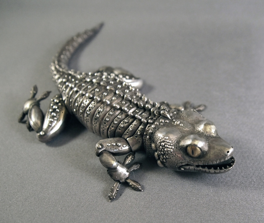 This articulated gecko in sterling silver, with 60 movable parts, was designed and handmade by artist Oleg Konstantinov. A selection of the artist's animals will be featured Sept. 28 at Trifles during the Wiscasset Art Walk.
