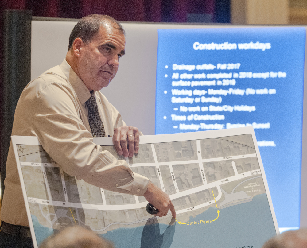 Maine Department of Transportation project manager Ernie Martin speaks during a meeting about Water Street construction between Maine Department of Transportation officials and residents in this April file photo. Martin came back to the city Wednesday for another update on the project.