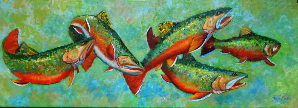 """""""Trout Run,"""" an oil on canvas by Marcia Baker, will be one of the paintings on display in a two-person show Oct. 5 through Dec. 1 at the Lakeside Contemporary Art Gallery, with an opening reception from 5 to 7 p.m. Oct. 6. Paintings by Dorothy Mosher also will be featured. The gallery is located in the Lobby of the RFA Lakeside Theater, 2493 Main St., in Rangeley. The event is presented by the Rangeley Friends of the Arts."""