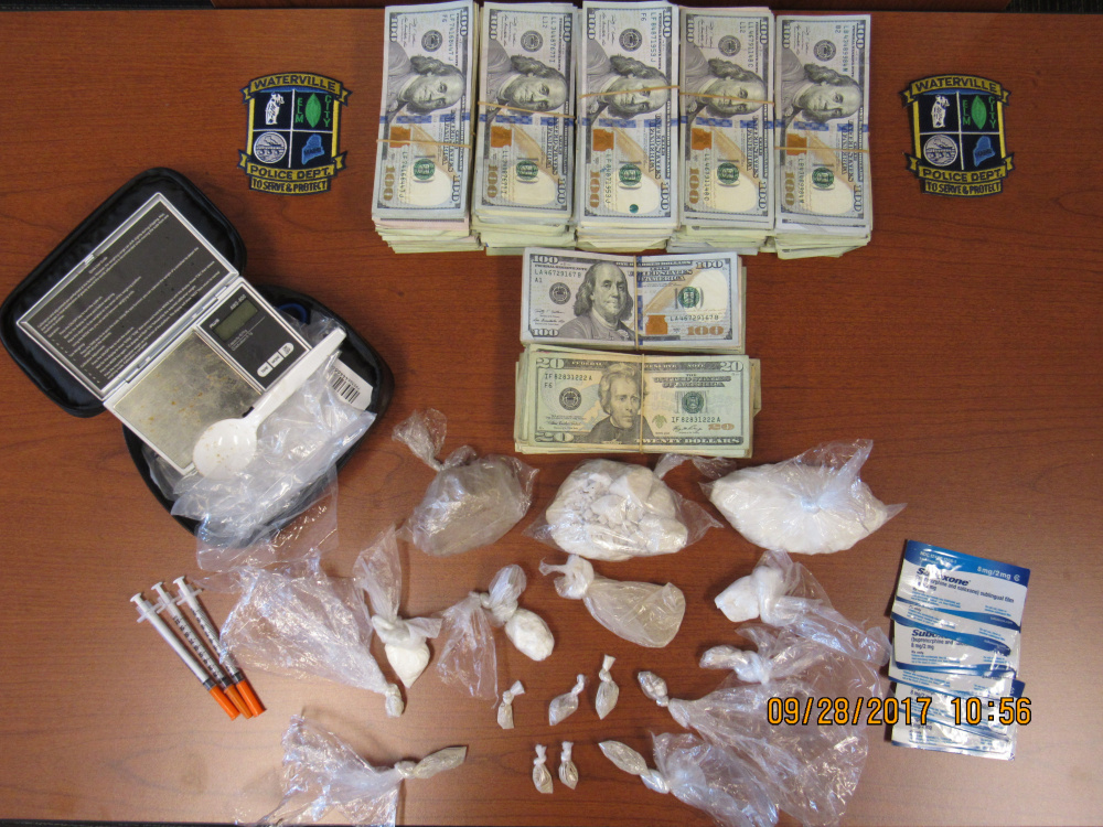 Waterville police seized heroin, fentanyl, cocaine and Suboxone strips worth $45,000 as well as $38,000 in cash Wednesday in a local hotel room.