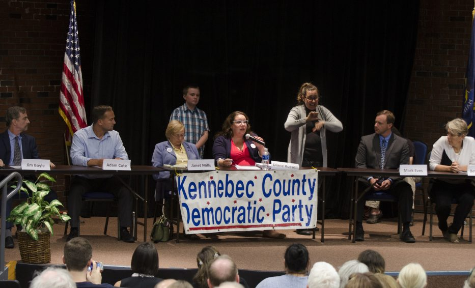 Democratic candidates for governor participate in a forum in September at the University of Maine of Augusta. From left are candidates Jim Boyle, Adam Cote, Janet Mills and Diane Russell; sign language interpreter Paula Matlins; and candidates Mark Eves and Betsy Sweet.