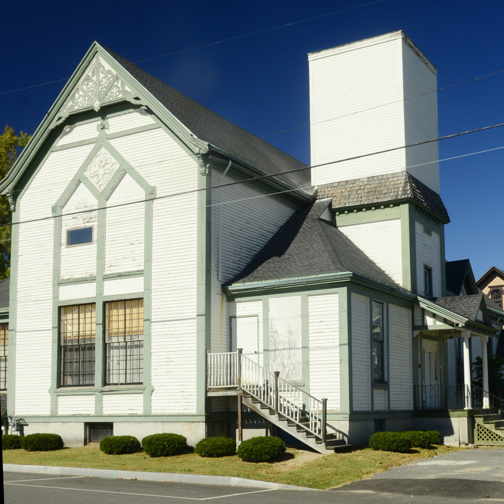 The former Elim church, seen Thursday at the northwest corner of Oak and State streets in Augusta.