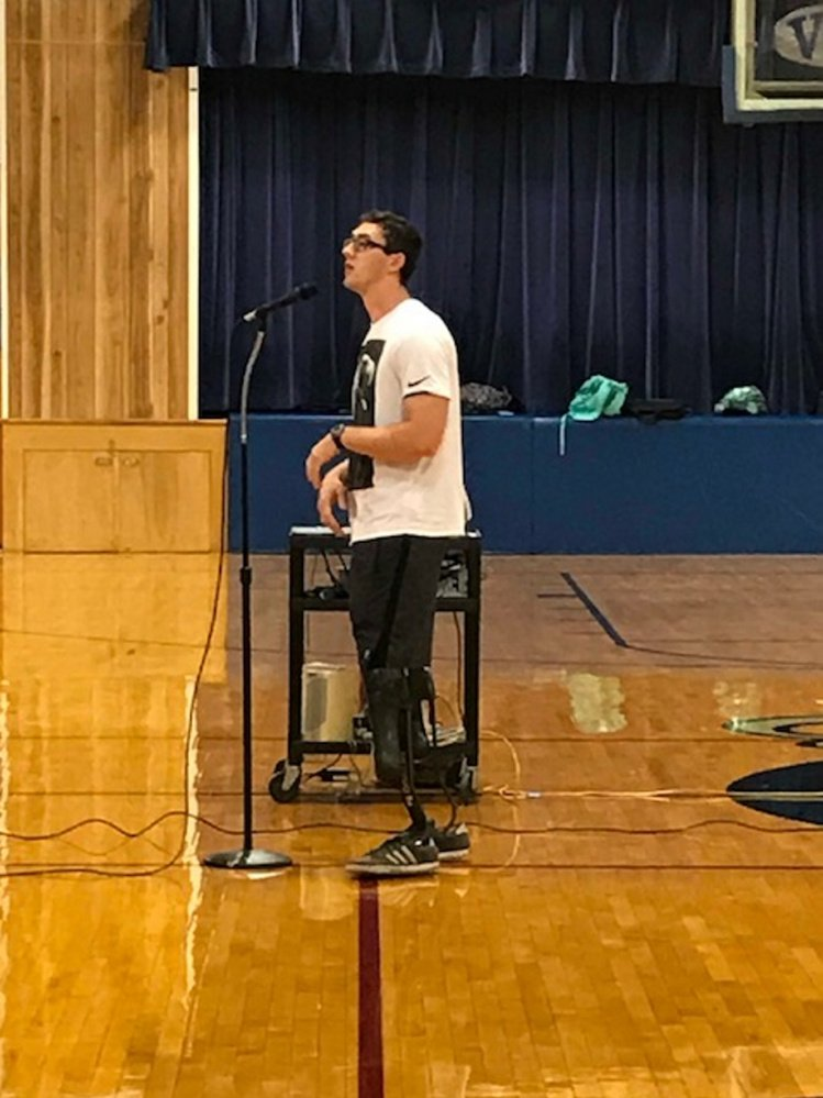 Nick Rogers speaks with students at Valley High School recently in Bingham. Rogers is a paralympian, who has competed in the Paralympics last year in Rio and in the World Championships this past summer in London.