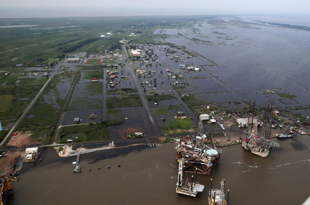 Flooding from Tropical Storm Harvey surrounds buildings in Sabine Pass, Texas, next to the Gulf of Mexico.