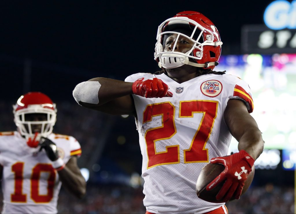 Kansas City Chiefs running back Kareem Hunt celebrates his touchdown against the New England Patriots.