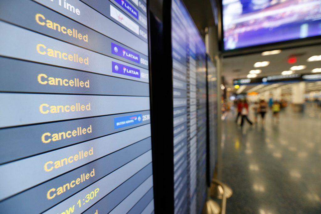 Airlines canceled more flights Monday as air travel in Florida remains grounded and Irma spins farther north. High winds have caused Delta and American to cancel many flights in Atlanta and Charlotte, N.C. Airlines hope to resume Miami flights Tuesday.