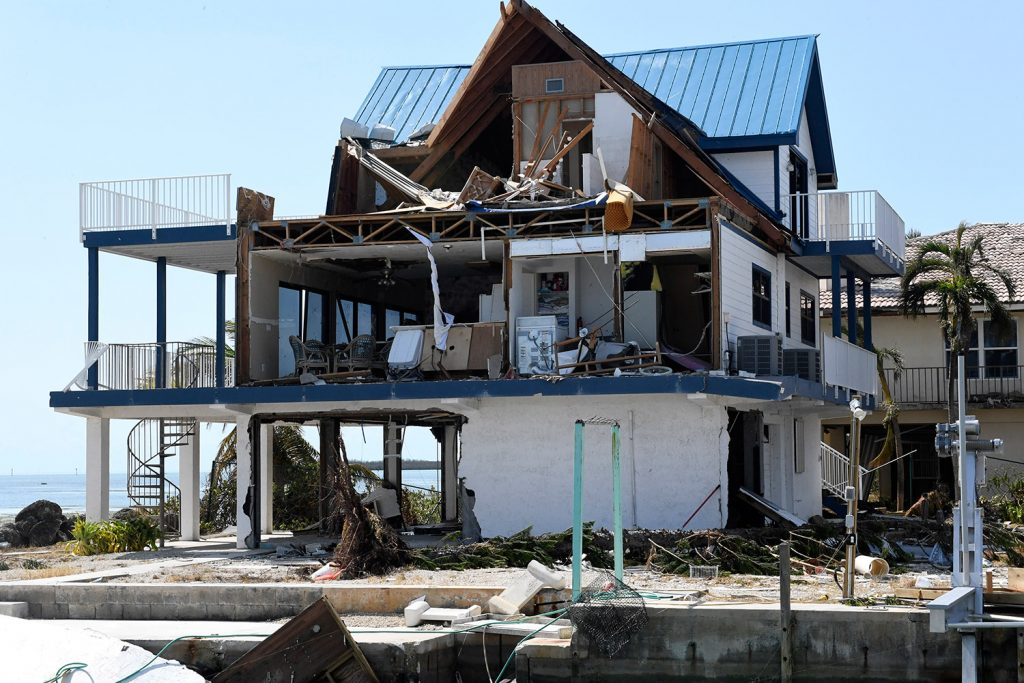 Hurricane Irma's powerful winds sheared off the side of this Cudjoe Key home, leaving the interior exposed. Cudjoe Key, Florida, was ground zero for Hurricane Irma's eye as it hit the Florida Keys, destroying many homes.
