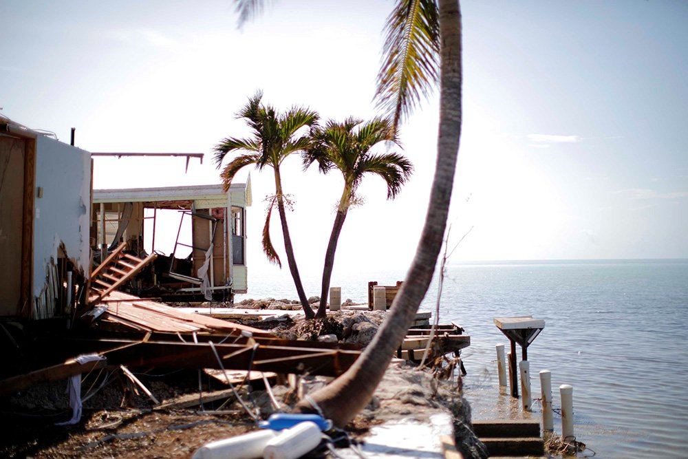 A destroyed trailer park is seen on Plantation Key in the Florida Keys on Tuesday.