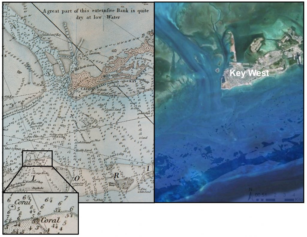 Click to enlarge: Key West, Florida, then and now.