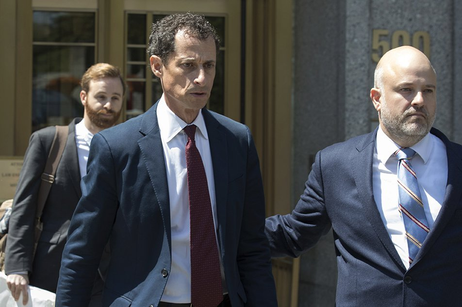 Former U.S. Rep. Anthony Weiner leaves Manhattan federal court on May 19, 2017. Prosecutors filed papers Wednesday, urging a judge to send a message with Weiner's sentencing Monday.
