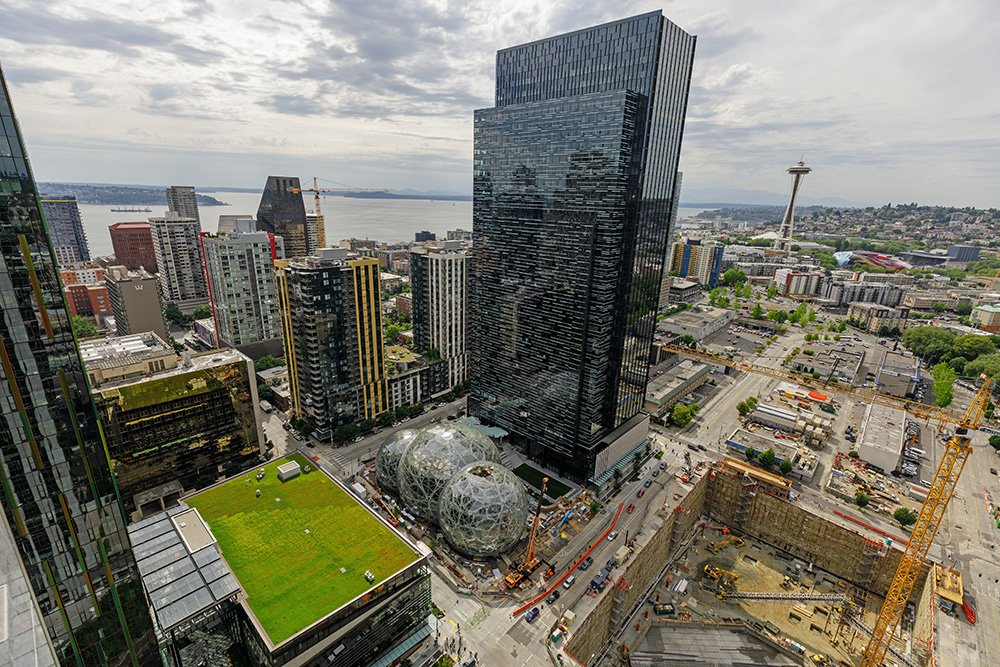 Amazon's headquarters in Seattle. The company estimates that investments in Seattle between 2010 and 2016 added $38 billion to the city's economy.