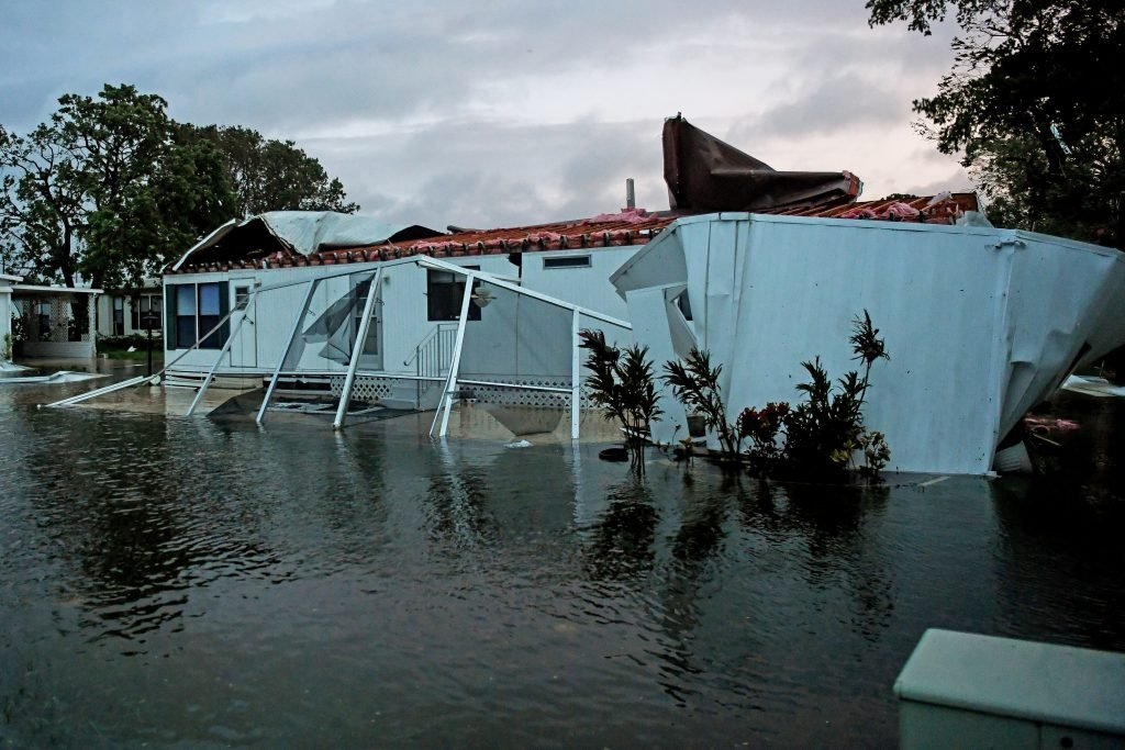 Floodwater from Hurricane Irma surrounds a mobile home in Bonita Springs, Florida, Sunday.