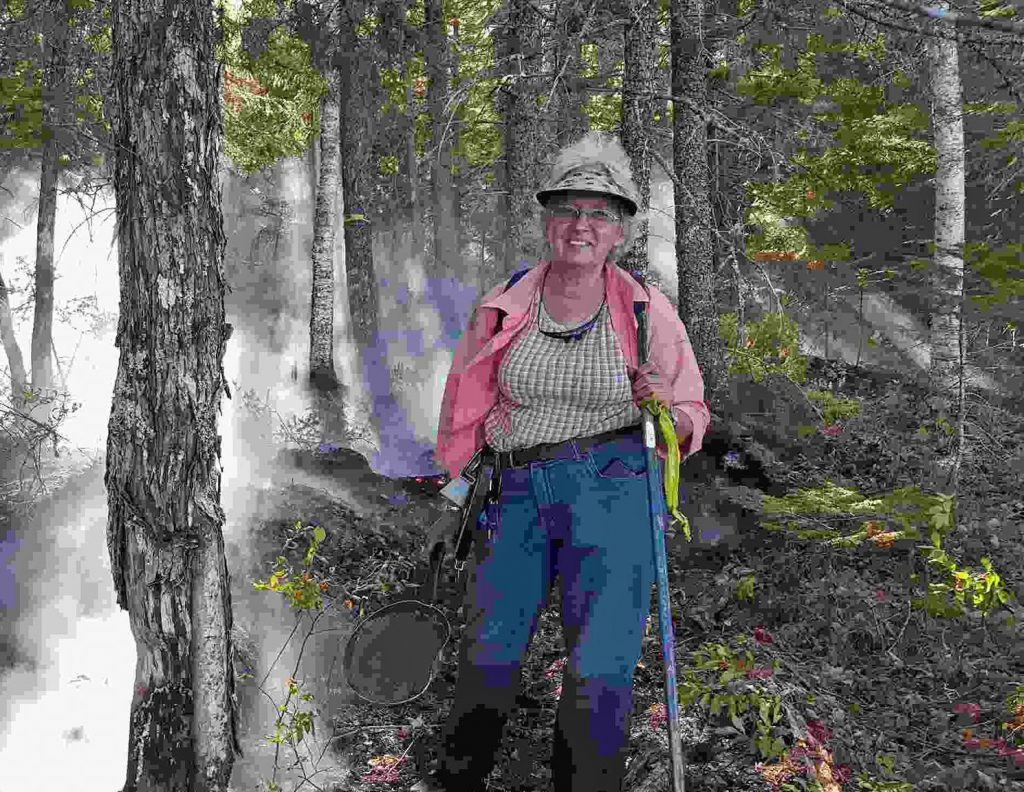 Nancy Weeks at the scene of a fire she helped control until Maine Forest Rangers could arrive to extinguish it.