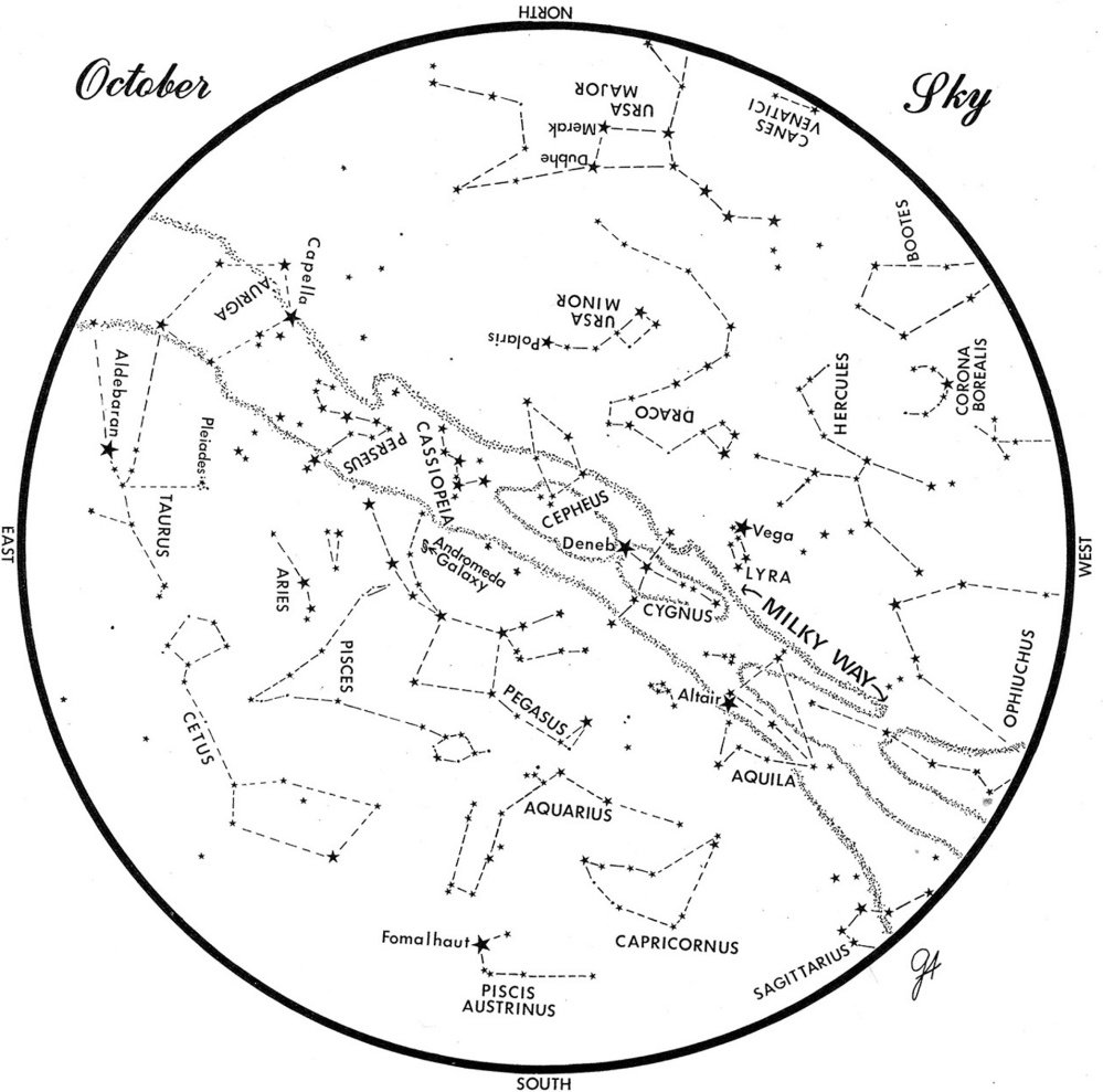 SKY GUIDE: This chart represents the sky as it appears over Maine in October. The stars are shown as they appear at 10:30 p.m. early in the month, at 9:30 p.m. at midmonth and at 8:30 p.m. at month's end. No planets are visible at midmonth. To use the map, hold it vertically and turn it so the direction you are facing is at the bottom.