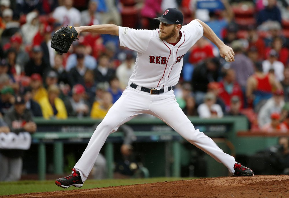 Boston relief pitcher Chris Sale delivers during the fourth inning against the Houston Astros Monday.