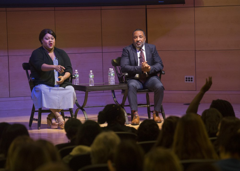 Alfred Carter and Veronica Robinson, both grandchildren of Henrietta Lacks, field questions from the audience at University of Southern Maine's Hannaford Hall on Friday.