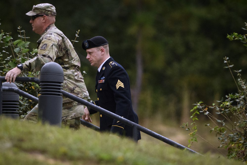 Sgt. Bowe Bergdahl, right, arrives for a motions hearing on Monday, Oct.16, 2017, on Fort Bragg. Bergdahl, who walked off his base in Afghanistan in 2009 and was held by the Taliban for five years, is charged with desertion and misbehavior before the enemy.